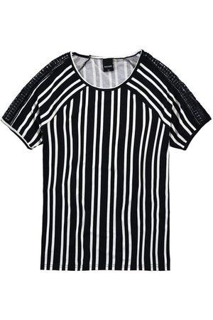 Malwee Mulher Manga Curta - Blusa Preta Estampada com Renda