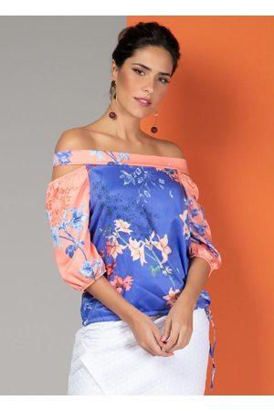 QUINTESS Blusa Floral Bicolor com Decote Ombro a Ombro
