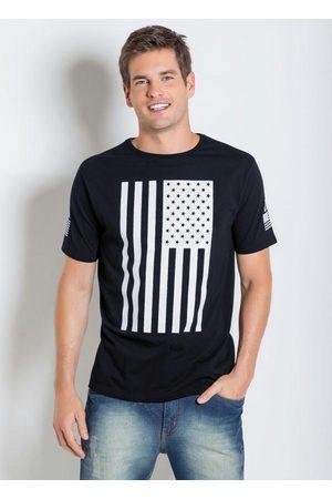 QUEIMA ESTOQUE Homem Manga Curta - Camiseta Preta com Estampa da Bandeura Usa