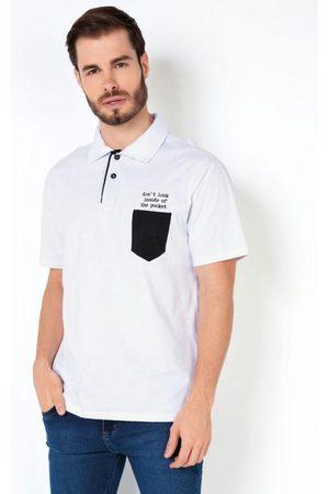 MODA POP Camisa Formal - Camisa Polo Branca com Bolso e Bordado
