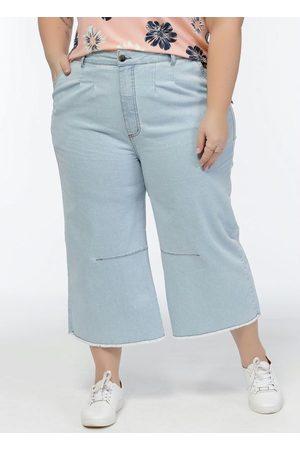 Mink Calça Jeans Plus Size Claro Cintura Alta