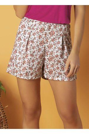 QUEIMA ESTOQUE Mulher Short - Short Floral Cintura Alta com Pregas e Bolso