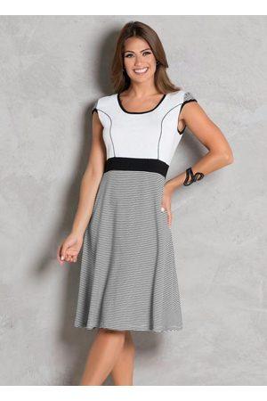 ROSALIE Mulher Vestido Estampado - Vestido Listrado Evasê Moda Evangélica