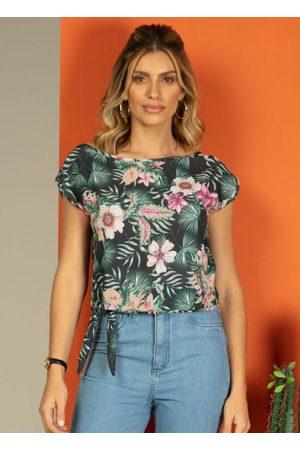 QUINTESS Mulher Blusa - Blusa Floral com Amarração na Barra