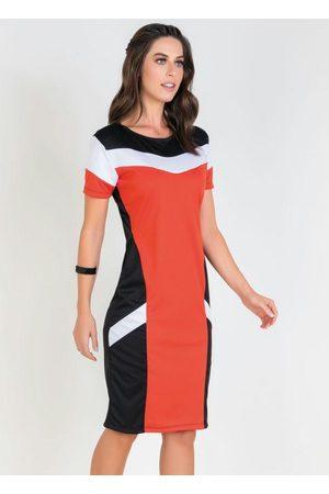ROSALIE Mulher Vestido Tubinho - Vestido Tricolor Tubinho Moda Evangélica