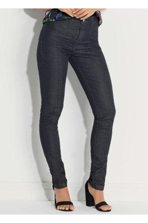 QUINTESS Mulher Cintura Alta - Calça Skinny Cintura Alta Jeans Escuro