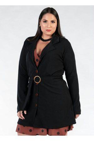 Mink Mulher Cinto - Casaco Plus Size Alongado com Cinto
