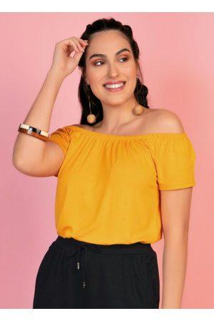 Rovitex Blusa Ombro a Ombro Amarela com Elástico