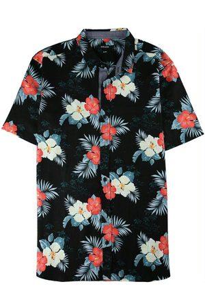 Malwee Homem Camisa Casual - Camisa Preta Slim Tropical em Algodão