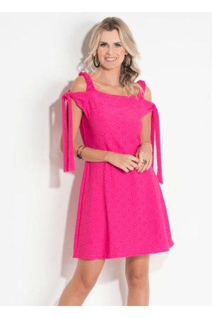 QUEIMA ESTOQUE Mulher Vestidos - Vestido Quintess Pink com Amarração nas Mangas