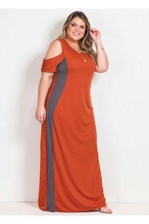 Marguerite Vestido Longo Terracota e Cinza Plus Size
