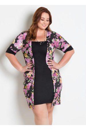 Marguerite Vestido com Sobreposição Plus Size Floral