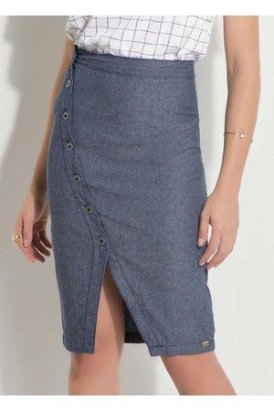 QUEIMA ESTOQUE Mulher Saia Midi - Saia Jeans com Transpasse Frontal