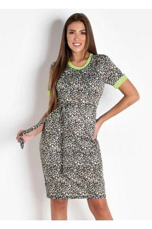 QUEIMA ESTOQUE Vestido Tubinho Onça e Neon Moda Evangélica