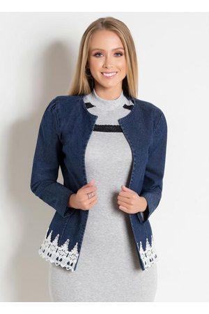 ROSALIE Mulher Jaqueta Jeans - Jaqueta Jeans com Guipir Moda Evangélica