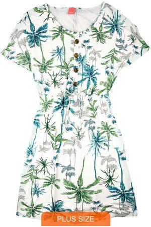 Wee Malwee Mulher Vestidos - Vestido Off White Curto Tropical com Botões