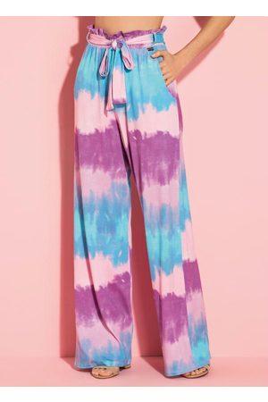 QUINTESS Mulher Calça Pantalona - Calça Tie Dye com Faixa na Cintura