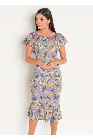 QUEIMA ESTOQUE Mulher Vestido Estampado - Vestido Estampado Lilás Moda Evangélica