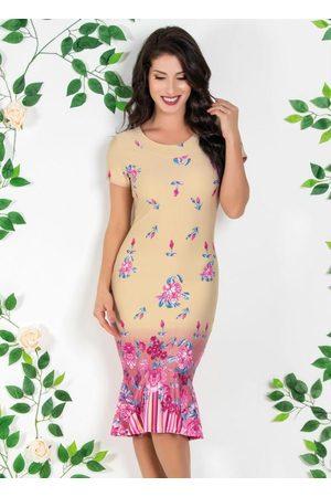 ROSALIE Mulher Vestido Estampado - Vestido Moda Evangélica com Barrado Floral