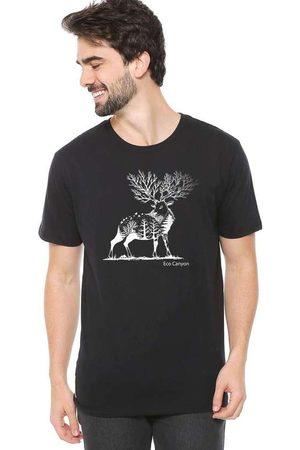 Eco Canyon Homem Manga Curta - Camiseta de Algodão Masculina Cervo Pre