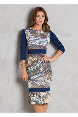 QUEIMA ESTOQUE Mulher Vestido Estampado - Vestido Estampado com Recortes Moda Evangélica
