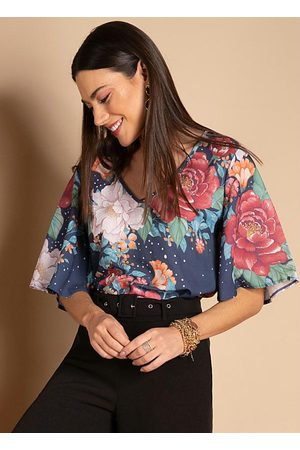 QUINTESS Mulher Blusa - Blusa Floral Marinho Decote V e Mangas Amplas