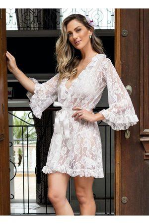 Alma Dolce Mulher Robe - Robe em Renda com Faixa em Cetim