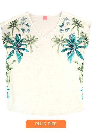 Wee Malwee Blusa Off White Tropical em Malha Liganete