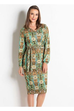 QUEIMA ESTOQUE Vestido Arabescos Turqueza Moda Evangélica