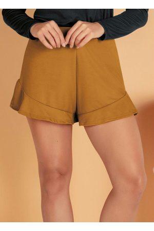 MODA POP Mulher Short - Shorts Caramelo com Babadinho