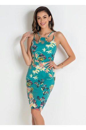 QUEIMA ESTOQUE Mulher Vestido Estampado - Vestido Floral Tubinho com Alcinhas
