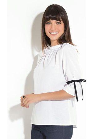 QUINTESS Mulher Camisa Manga Curta - Camisa Branca com Gola Franzida