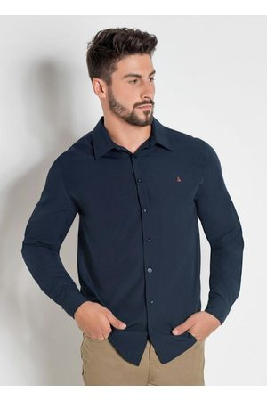 Actual Homem Camisa Casual - Camisa Social em Tricoline Marinho