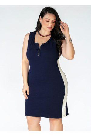 Mink Mulher Vestidos - Vestido Plus Size Marinho com Recorte Branco