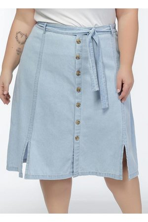 Mink Mulher Saia Midi - Saia Jeans com Faixa, Botões e Fendas na Frente