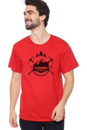 Eco Canyon Homem Manga Curta - Camiseta Masculina Climb Vermelha Red