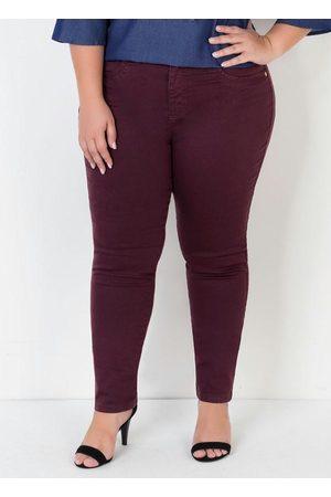 Mink Mulher Calça de Alfataria - Calça Sarja Reta Plus Size Bordô