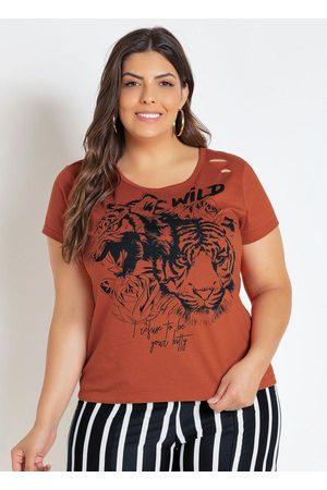 Marguerite Mulher Camiseta - T-Shirt Caramelo Plus Size com Efeito Rasgado