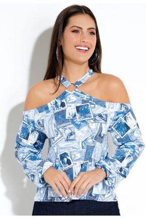 QUINTESS Blusa Estampas Selos com Argola no Decote