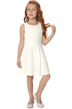 CARINHOSO Menina Vestidos - Vestido Off White Godê com Strass