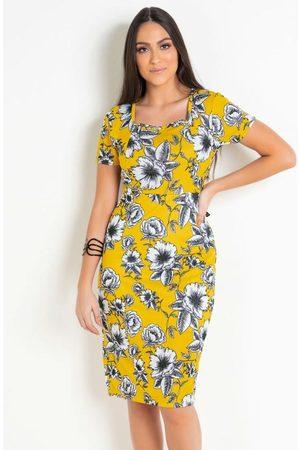 ROSALIE Vestido Tubinho Moda Evangélica Floral