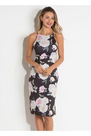 QUEIMA ESTOQUE Mulher Vestido Estampado - Vestido Quintess de Alça com Fenda Floral Dark