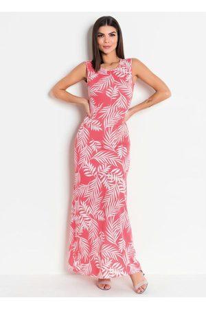 ROSALIE Vestido Longo Estampado Coral Moda Evangélica