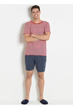 Alma Dolce Homem Pijamas - Pijama Masculino Listras Vermelhas