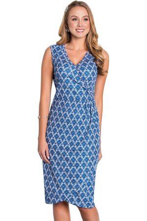 QUEIMA ESTOQUE Mulher Vestido Médio - Vestido Transpassado Geométrico Moda Evangélica
