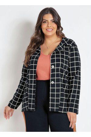 Marguerite Blazer Plus Size Xadrez Grid com Botões