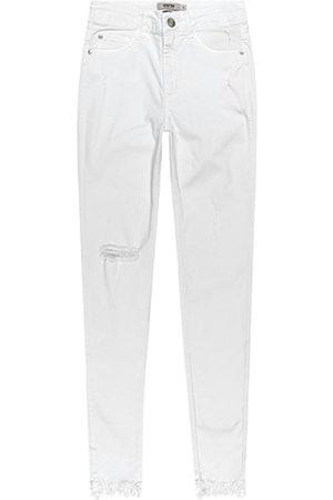 ENFIM Calça Branca Skinny em Sarja Desfiada