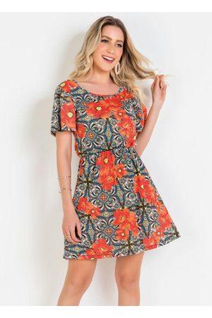 QUEIMA ESTOQUE Mulher Vestido Estampado - Vestido com Gota Costas Floral