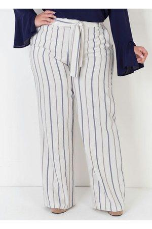 Mink Calça Plus Size de Linho Listrada com Amarração