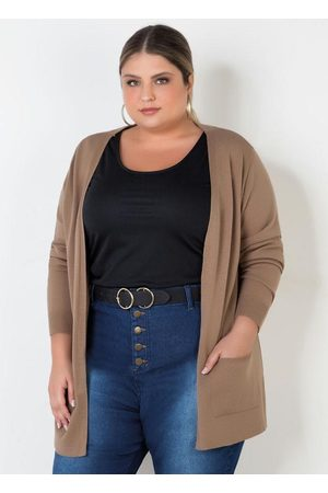 Mink Casaco de Tricot Plus Size com Bolsos